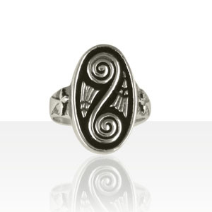 Bague Argent OVALE SPIRALE+HERMINE