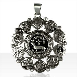 Médaille Argent HERMINE ENTOURAGE DISQUES RONDS