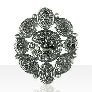 Broche Argent OVALE HERMINE ENTOURAGE DISQUES ROND