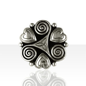 Broche Argent 3 COEURS TRISKELL