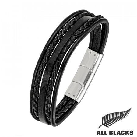 Bracelet 5 CUIRS NOIRS Rond/ Carré/ Tressé ALL BLACKS