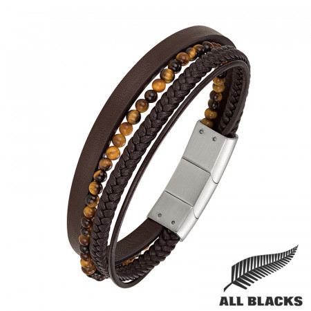 Bracelet Multicuirs OEIL DE TIGRE ALL BLACKS