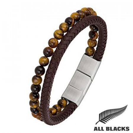 Bracelet Duo CUIR/ OEIL DE TIGRE Marron ALL BLACK