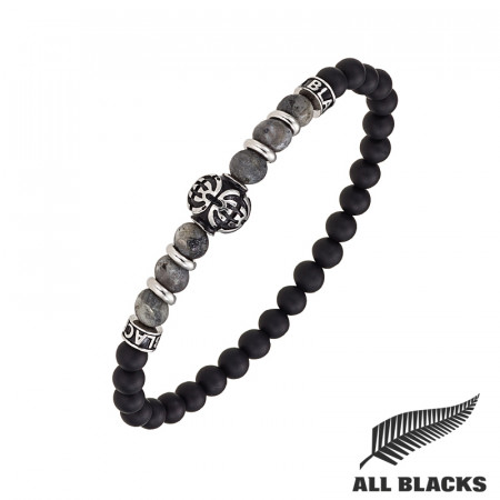 Bracelet TIBETAIN LABRADORITE & AGATE ALL BLACKS