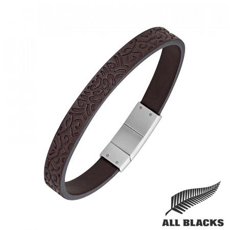 Bracelet CUIR GRAVE MAORI ALL BLACKS
