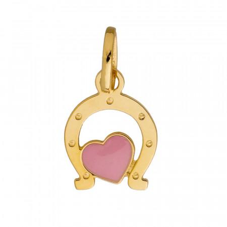 Pendentif Fer à cheval Coeur rose Or 750°°°