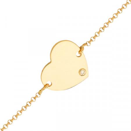 Bracelet Coeur Or jaune 750°°° - Diamant 16cm