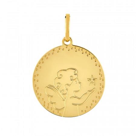 Médaille Ronde ANGE ETOILE Or jaune 750°°°