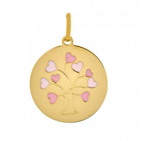 Médaille ARBRE DE VIE Coeur laqué Or jaune 750°°°