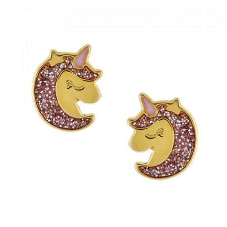 Boucles d'oreilles LICORNE paillette rose Or 750°°°