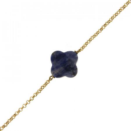 Bracelet Plaqué Or GALEA TREFLE - Sodalite 16+3cm
