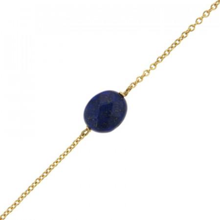 Bracelet Plaqué Or GALEA OVALE FACETTE - Lapis - L: 16+ 3cm