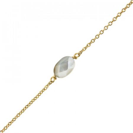 Bracelet Plaqué Or GALEA OVALE FACETTE - Nacre - L: 16+ 3cm