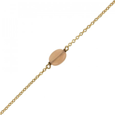 Bracelet Plaqué Or GALEA OVALE FACETTE - Pierre de soleil- L: 16+ 3cm