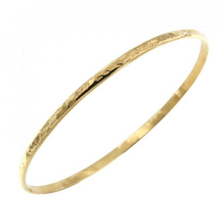 Bracelet Plaqué Or 1/2 Jonc 3 - Martelé