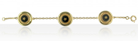 Bracelet Plaqué Or CREOLE ONYX 3/CH GM