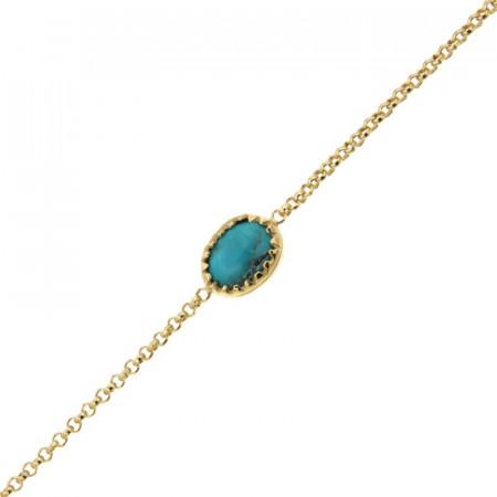 Bracelet Plaqué Or KHEOPS 8/6 Turquoise 17+2cm