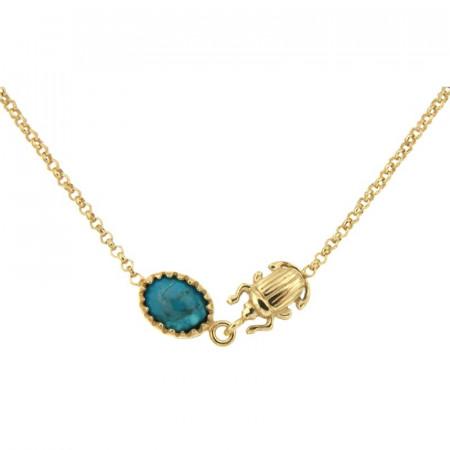 Collier Plaqué Or KHEOPS / Scarabée Turquoise 40+2,5cm