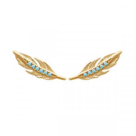 Boucles d'oreilles Plaqué Or INCAS Turquoise