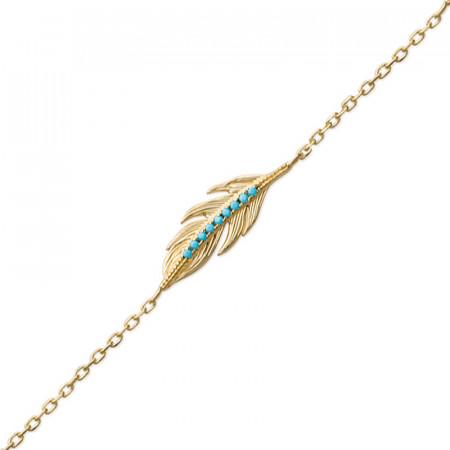 Bracelet Plaqué Or Plume INCAS Turquoise