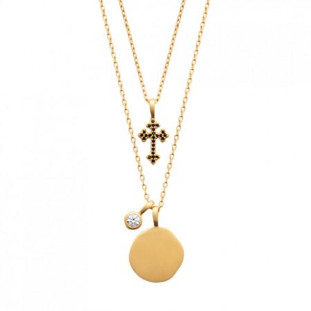 Collier double rang Croix medaille Oz