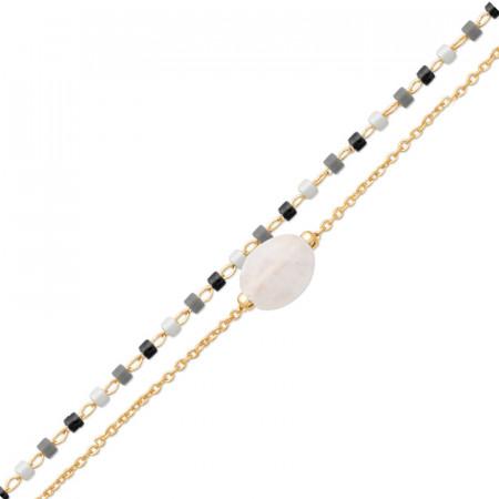 Bracelet Plaqué Or PIERRE DE LUNE Double rang