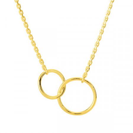 Collier Double cercle Plaqué Or 42cm