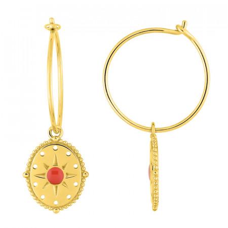 Boucles d'oreilles médaille SOLEIL rouge Corail