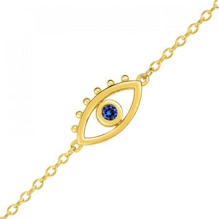 Bracelet OEIL DE PROTECTION Pierre Bleue Plaqué Or