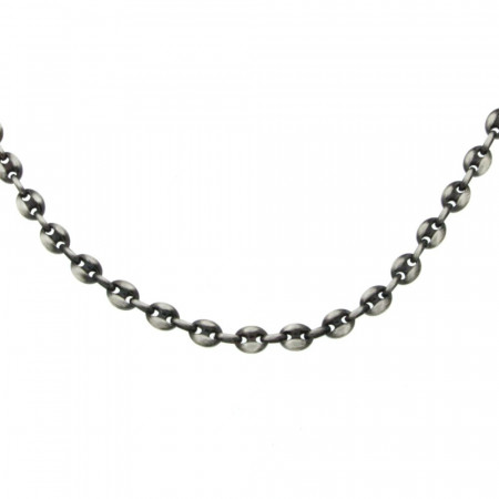 Collier grain de cafe Argent patiné 50cm