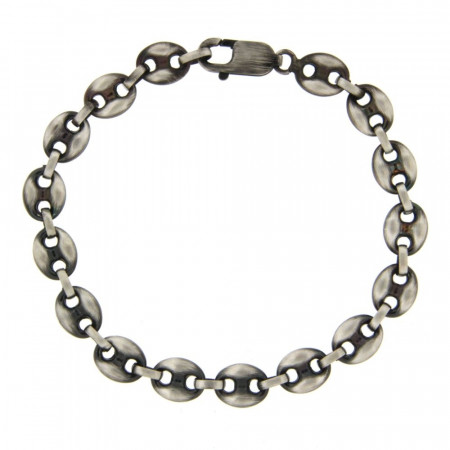 Bracelet grain de cafe Argent patiné 8mm