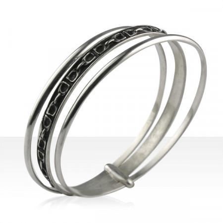 Bracelet Argent JONC ETRIER PM/2 ANNEAUX