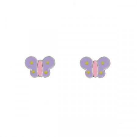 Boucles d'oreilles Argent PAPILLON MAUVE A POIS