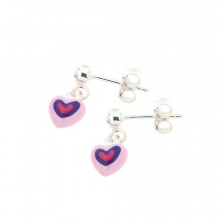 Boucles d'oreilles pendantes Argent Coeur rose