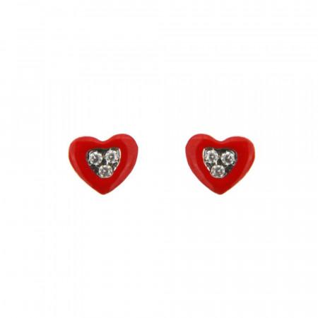 Boucles d'oreilles Argent Coeur Rouge / Oxydes