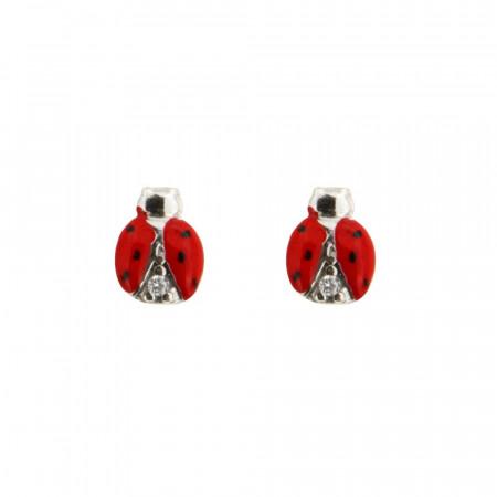 Boucles d'oreilles Argent Coccinelle Rouge / Oxydes