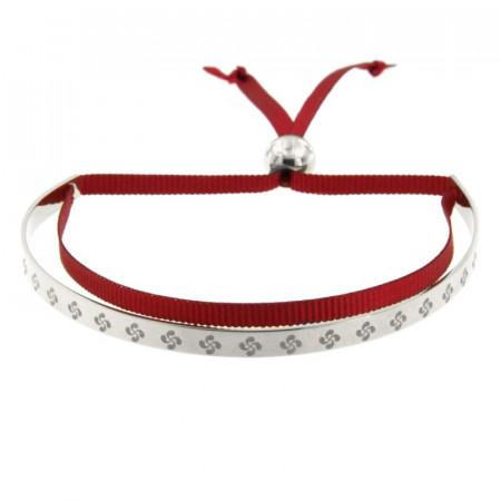 Bracelet Argent EDER Jonc Frise Croix Basque - cordon satin