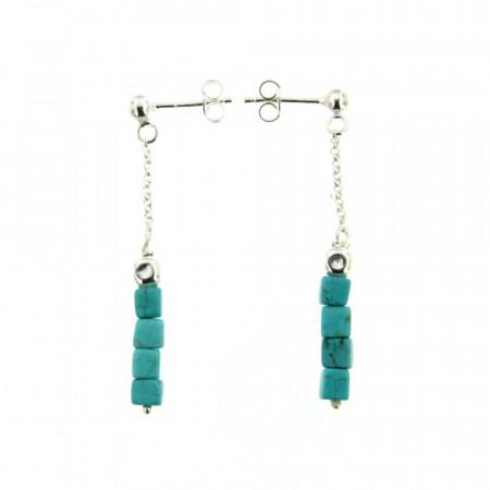 Boucles d'oreilles Argent MASSAÏ Turquoise