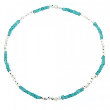Collier Argent MASSAÏ Turquoise 45cm