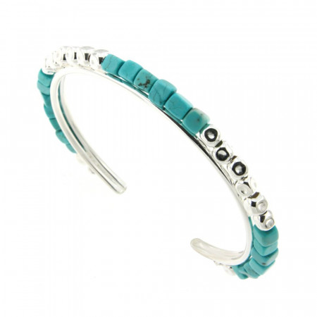 Bracelet Argent Turquoise MASSAÏ JONC 4mm
