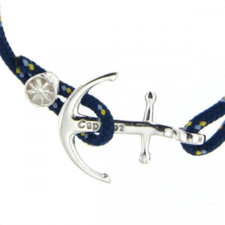 Bracelet Argent Ancre CAP COZ - bleu