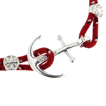 Bracelet Argent Ancre CAP COZ double- rouge