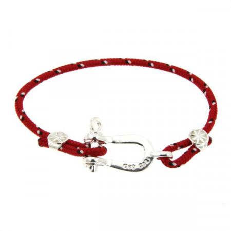 Bracelet Argent Manille CAP COZ - rouge