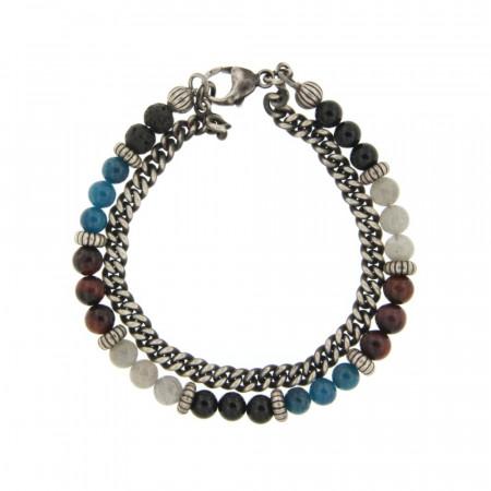 Bracelet perles naturelles et chaine gourmette en Argent patiné