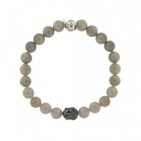 Bracelet bouddha Labradorite & Argent