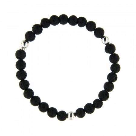 Bracelet perle de lave 6mm - Argent
