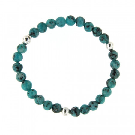 Bracelet turquoise synt. 6mm - Argent