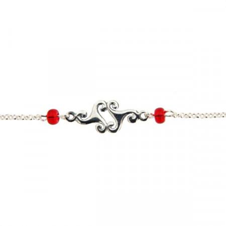 Bracelet Argent 2 triskells - perles rouge