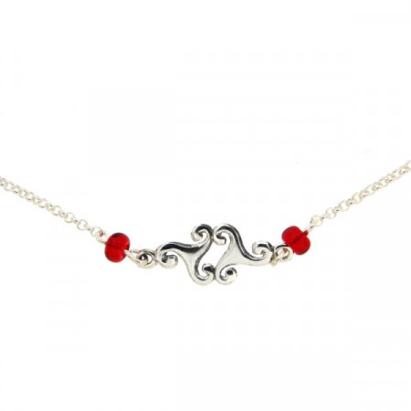 Collier Argent Triskell - perles rouge