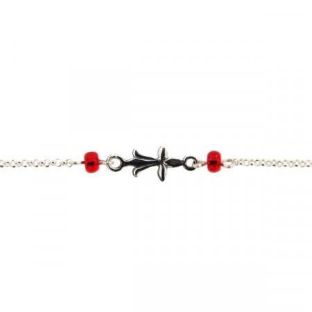 Bracelet Argent Hermine - perles rouge